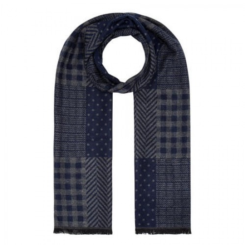 Bugatti - Pattern Scarf - Navy Grey